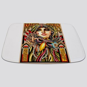 Mardi Gras Mask and Beautiful Woman Bathmat