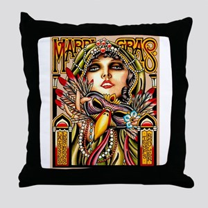 Mardi Gras Mask and Beautiful Woman Throw Pillow