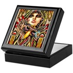 Mardi Gras Mask and Beautiful Woman Keepsake Box