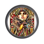 Mardi Gras Mask and Beautiful Woman Wall Clock