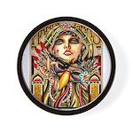 Mardi Gras Mask and Beautiful Woman Wall Clock