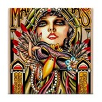 Mardi Gras Mask and Beautiful Woman Tile Coaster