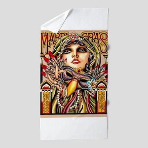 Mardi Gras Mask and Beautiful Woman Beach Towel