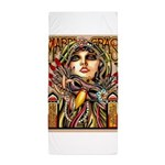 Mardi Gras Mask and Beautiful Woman Beach Towel