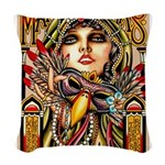 Mardi Gras Mask and Beautiful Woman Woven Throw Pi