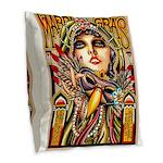 Mardi Gras Mask and Beautiful Woman Burlap Throw P