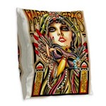 Mardi Gras Mask and Beautiful Woman Burlap Throw P