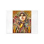 Mardi Gras Mask and Beautiful Woman 5'x7'Area Rug