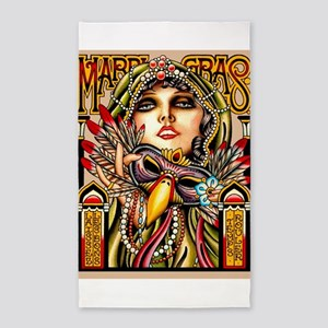 Mardi Gras Mask and Beautiful Woman Area Rug