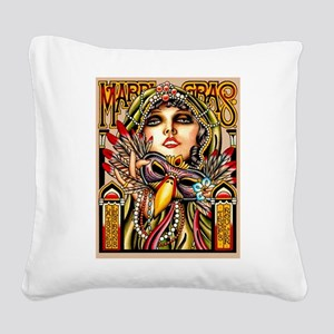 Mardi Gras Mask and Beautiful Woman Square Canvas
