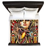 Mardi Gras Mask and Beautiful Woman King Duvet