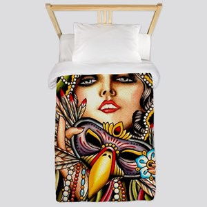 Mardi Gras Mask and Beautiful Woman Twin Duvet