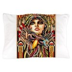 Mardi Gras Mask and Beautiful Woman Pillow Case