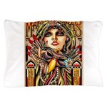 Mardi Gras Mask and Beautiful Woman Pillow Case