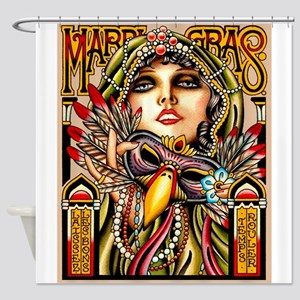 Mardi Gras Mask and Beautiful Woman Shower Curtain