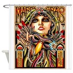 Mardi Gras Mask and Beautiful Woman Shower Curtain