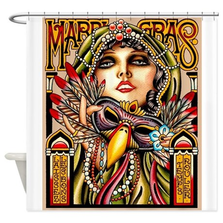 Mardi Gras Mask And Beautiful Woman Shower Curtain By Posterbobsartplus