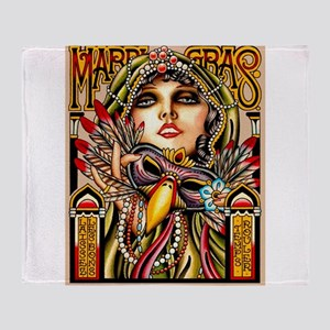 Mardi Gras Mask and Beautiful Woman Throw Blanket