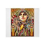 Mardi Gras Mask and Beautiful Woman Throw Blanket