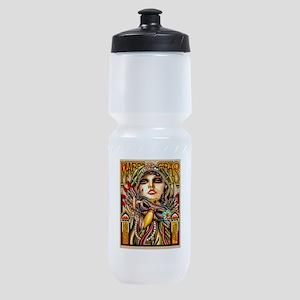 Mardi Gras Mask and Beautiful Woman Sports Bottle