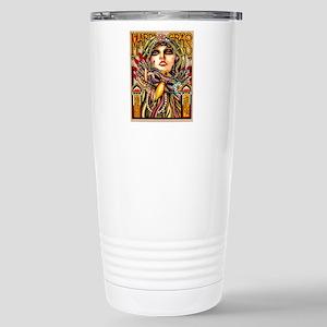 Mardi Gras Mask and Beautiful Woman Travel Mug