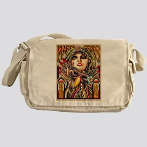 Mardi Gras Mask and Beautiful Woman Messenger Bag