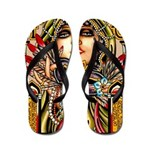 Mardi Gras Mask and Beautiful Woman Flip Flops