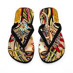 Mardi Gras Mask and Beautiful Woman Flip Flops