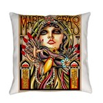 Mardi Gras Mask and Beautiful Woman Everyday Pillo