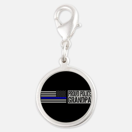 Police: Proud Grandpa (Black F Silver Round Charm