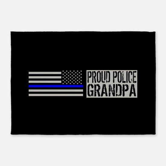 Police: Proud Grandpa (Black Flag, 5'x7'Area Rug