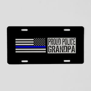 Police: Proud Grandpa (Blac Aluminum License Plate