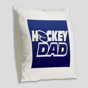 Hockey Dad Burlap Throw Pillow