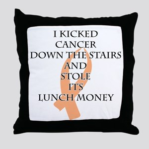 Cancer Bully (Peach Ribbon) Throw Pillow