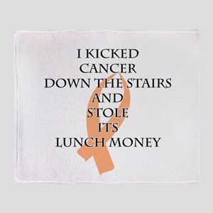 Cancer Bully (Peach Ribbon) Throw Blanket