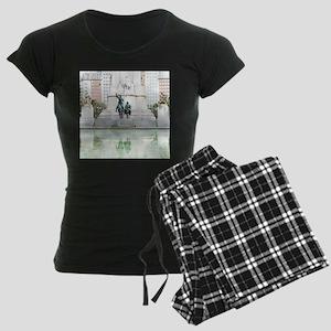 Spanish famous wind mill fig Women's Dark Pajamas