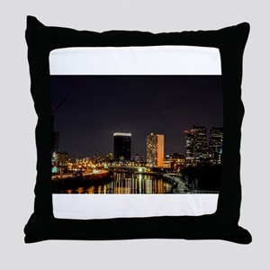 Philadelphia at night with illuminati Throw Pillow