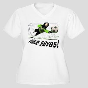 Jesus Saves soccer shirt | Women's Plus Size V-Nec