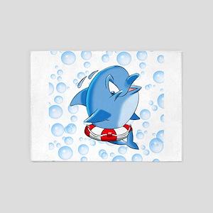 Dolphin Cartoon with Bubbles 5'x7'Area Rug