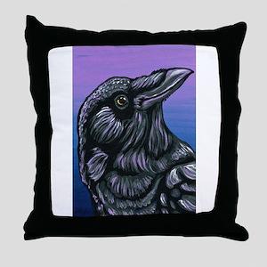 Purple Crow Raven Throw Pillow