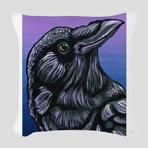 Purple Crow Raven Woven Throw Pillow