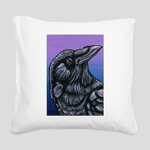 Purple Crow Raven Square Canvas Pillow