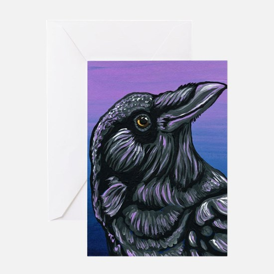 Purple Crow Raven Greeting Cards