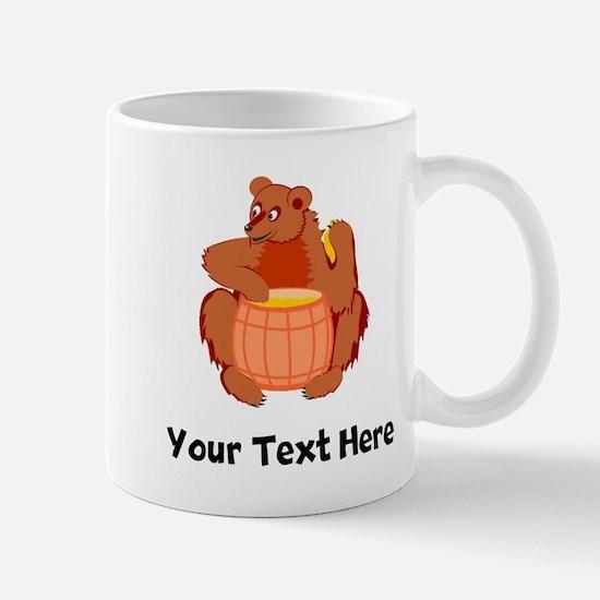 Bear With Honey Barrel (Custom) Mugs