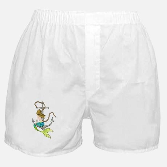 Mermaid On Anchor Boxer Shorts