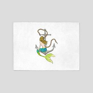 Mermaid On Anchor 5'x7'Area Rug