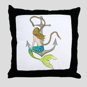 Mermaid On Anchor Throw Pillow