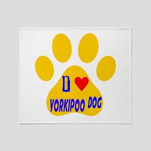 I Love Yorkipoo Dog Throw Blanket