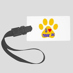 I Love Tibbie Dog Large Luggage Tag