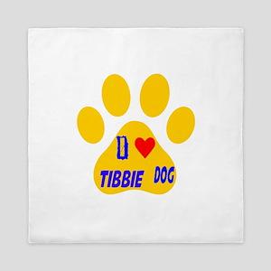 I Love Tibbie Dog Queen Duvet